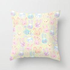 too many bunnies Throw Pillow