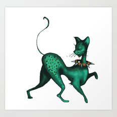 Green Spotted Kitty Art Print