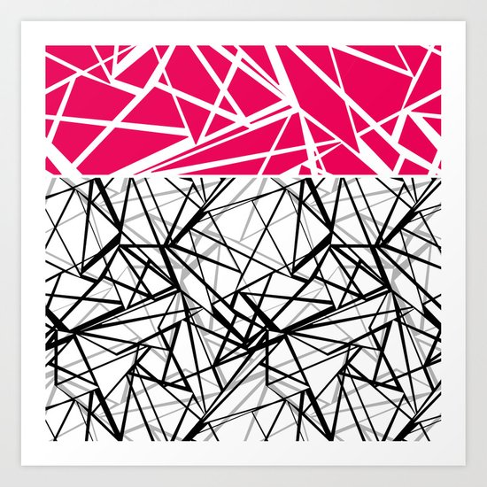 Black and white abstract geometric pattern with red inlay . Art Print