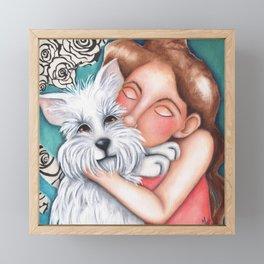Sweet Coconut Original Art Schnauzer and girl Portrait Framed Mini Art Print