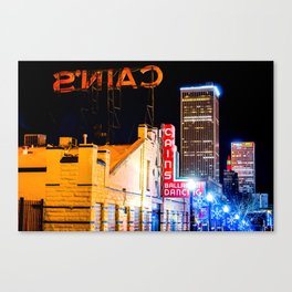 Cains Ballroom Music Hall and the Tulsa Skyline Canvas Print