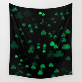 Green Bokeh Shamrocks Wall Tapestry