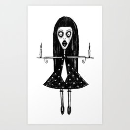 Girl with candels Art Print