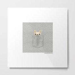 Pocket French Bulldog - Cream Metal Print