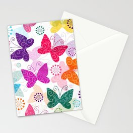 Colorful Butterflies and Flowers V1 Stationery Cards