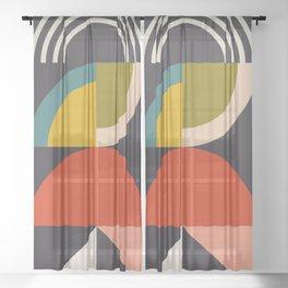 mid century bauhaus geometric large 3 Sheer Curtain
