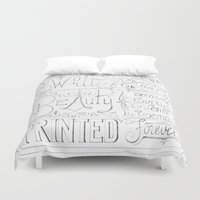 calligraphy Duvet Covers featuring Julie's Calligraphy by Julie's Fabrics & Thingummies