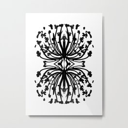 Black and white abstract brushstroke modern minimal monochromatic art print home decor college dorm Metal Print