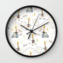 Cool giraffe on transparent background Wall Clock