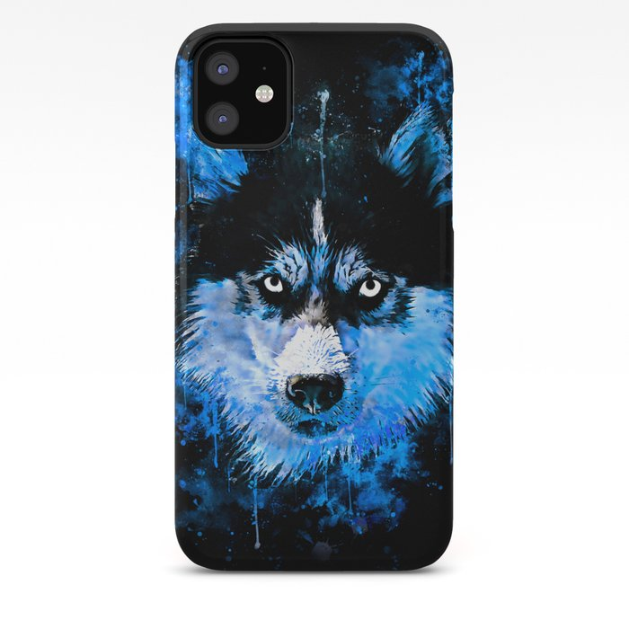 Husky Dog Face Splatter Watercolor Blue Iphone Case By Gxp Design
