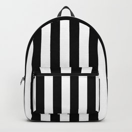 Narrow Vertical Stripes - White and Black Backpack