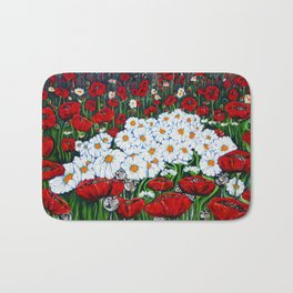 Rubies and Pearls, Red Poppy and Daisy Painting Bath Mat
