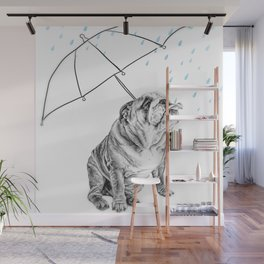 Bulldog taking a shower Wall Mural