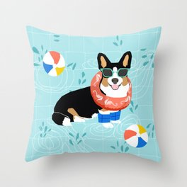 Tricolored Corgi Pool Party - cute corgi dog design pool party summer beach ball dog costume dogs Throw Pillow