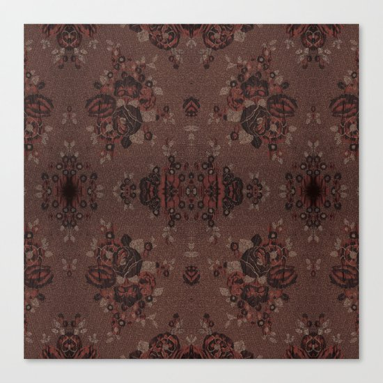 Abstract brown flowers with gold Canvas Print