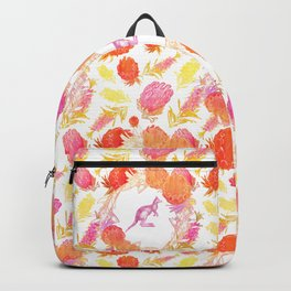 Lovely Australiana Floral Print - Kangaroos and Australian Native Florals Backpack