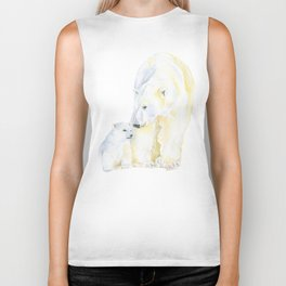 Mother and Baby Polar Bears Watercolor Biker Tank