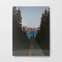A Road Through The Mountain Pine Trees Photo Metal Print
