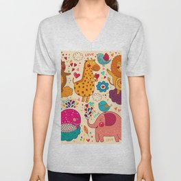 Animals in love Unisex V-Neck