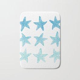 Blue Watercolor Starfish Bath Mat