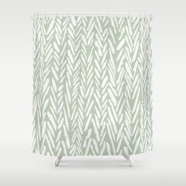 Light green herringbone pattern with cream stripes Shower Curtain