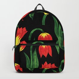 Hand painted orange yellow green watercolor tulips pattern Backpack