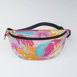 TROPICAL PATCHWORK PRINT IN BRIGHT PINK & YELLOW Fanny Pack