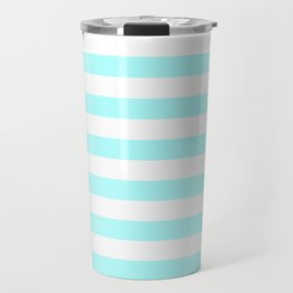 Narrow Horizontal Stripes - White and Celeste Cyan Travel Mug