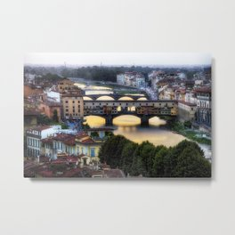 Bridges Over the Arno River, Florence, Tuscany, Italy Metal Print