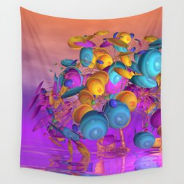 violet and orange and turquoise Wall Tapestry