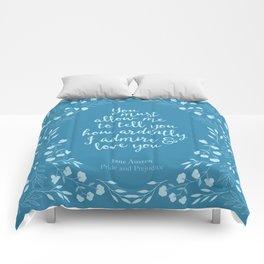 Jane Austen Pride and Prejudice Quote Comforters