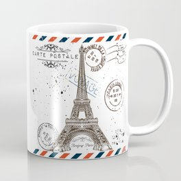 Art hand drawn design with Eifel tower. Old postcard style Coffee Mug