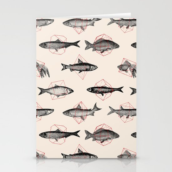 Fishes In Geometrics (Red) Stationery Cards