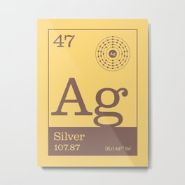 Periodic Elements - 47 Silver (Ag) Metal Print