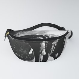 elephant jungle sunray va bw Fanny Pack