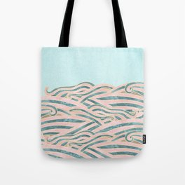 Venetian Waves // Vintage Abstract Pink Blue and Gold Summer Illustration Digital Beach Wall Decor Tote Bag