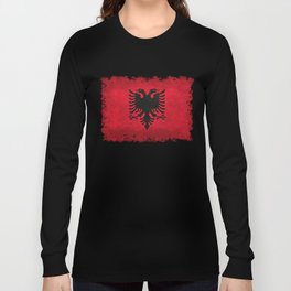 Albanian Flag in Vintage Retro Style Long Sleeve T-shirt