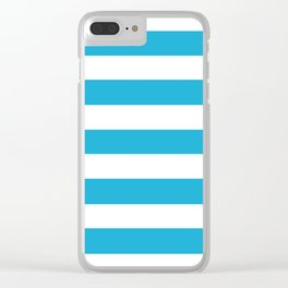 Bright cerulean - solid color - white stripes pattern Clear iPhone Case