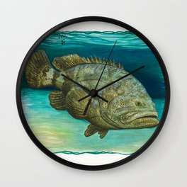 """Goliath Grouper"" by Amber Marine ~ Watercolor Painting, (Copyright 2015) Wall Clock"