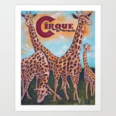 Giraffes on the Circle  Art Print