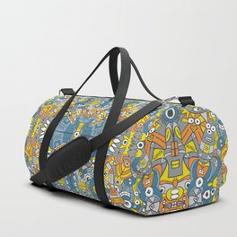 Retro robots are back and just want to have as much fun as possible Duffle Bag