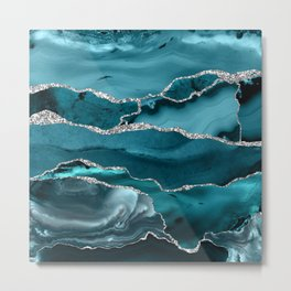 Glamour Turquoise Blue Bohemian Watercolor Marble With Silver Glitter Veins Metal Print