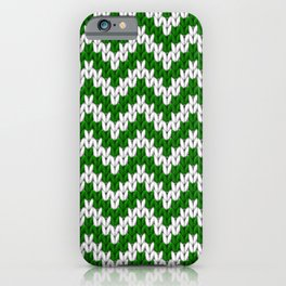 Green Christmas knitted chevron large scale iPhone Case