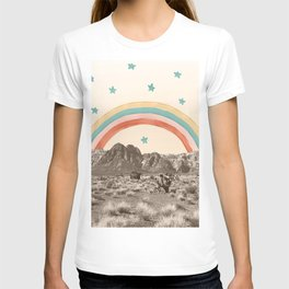 Canyon Desert Rainbow // Sierra Nevada Cactus Mountain Range Whimsical Painted Happy Stars T-shirt