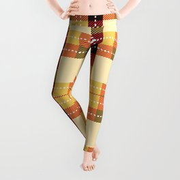Plaid White Stitch Yellow And Brown Lumberjack Flannel Leggings