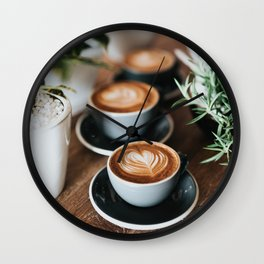 Latte + Plants Wall Clock