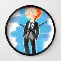 tom hiddleston Wall Clocks featuring Tom Hiddleston - Ehehehe! by Delucienne Maekerr