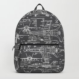 F-18 Blueprints // Charcoal-Grey Backpack