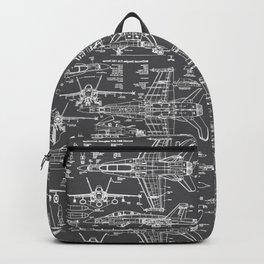 F-18 Blueprints // Charcoal-Grey Backpack