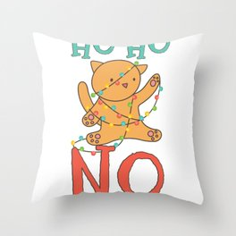 Ho Ho No Cat Tangled In Christmas Lights Gifts Throw Pillow
